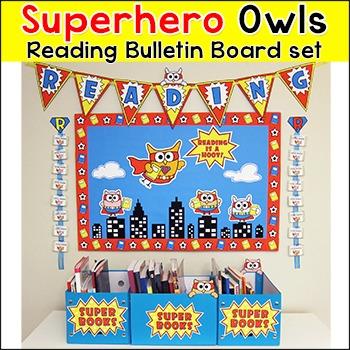 Superhero Owl Theme Reading Bulletin Board Set