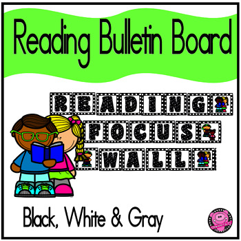 READING BULLETIN BOARD SET in BLACK and GRAY CHECKER BOARD THEME