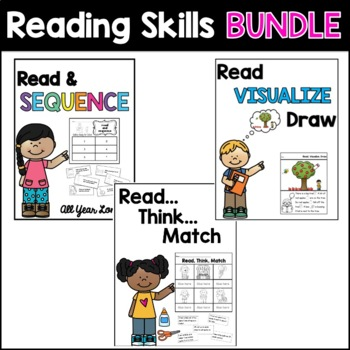 Reading Skills Printable BUNDLE: Visualize, Infer, and Sequence