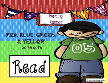 Reading Bunting Banner-Polka Dots Theme (multicolor-red, green, blue, & yellow)