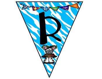 Reading Bunting Banner-Zebra Theme (blue)