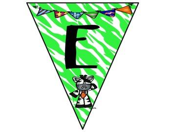 Reading Bunting Banner-Zebra Theme (lime green)