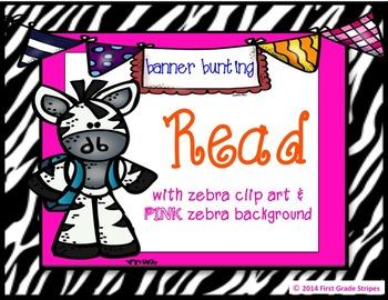 Reading Bunting Banner-Zebra Theme (pink)