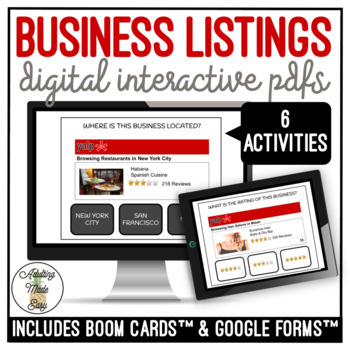 Reading Business Listings Digital Interactive Activity BUNDLE Life Skills