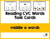 Reading CVC Words Task Cards (Middle A Words) Easel Activi