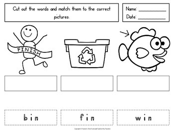 Reading CVC words. Word and picture match.