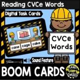 Reading CVCe Words Construction Theme BOOM Cards