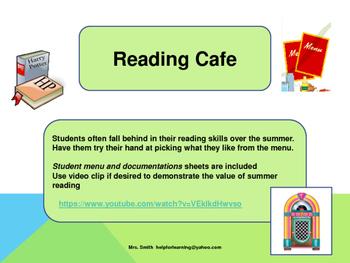 Activity: Summer Reading: Reading Cafe