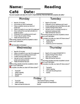 Reading Cafe Checklist