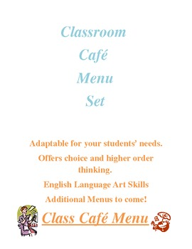Reading Cafe Menu Choice Products w/Templates