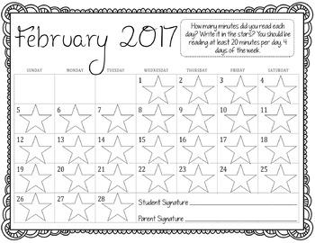 Monthly Reading Calendar 2016-2017