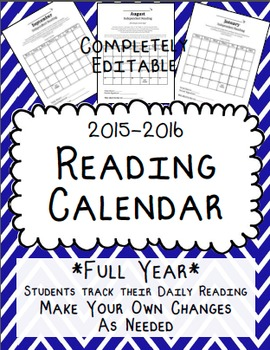 Reading Calendar 2015-2016 {Full Year, Fully Editable}