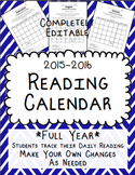 Reading Calendar 2015-2016 {Full Year, Fully Editable}