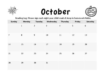 Reading Calendar 2018-2019