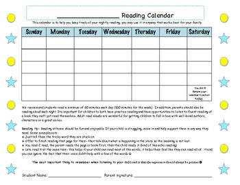 Reading Calendar at-home monthly