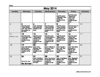 Reading Calendar for Poems