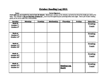 Reading Calendar for School Year 2013-2014
