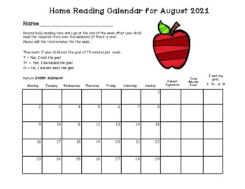 Reading Calendars 2018-2019