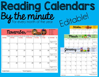 Reading Calendars By the Minute: EDITABLE