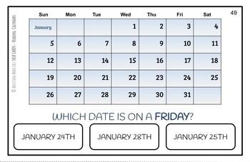 Reading Calendars Large Task Cards