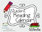 Reading Calendars- October, November, December 2015 Updated!