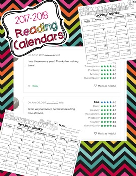 Reading Calendars for 2017-2018 {August-June}