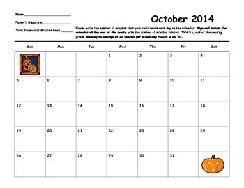 Reading Calendars for the 2014-2015 School Year
