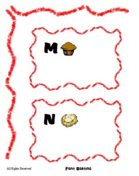Reading Center Activity for M N O P - Font Sort Game for Preschool Literacy