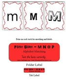 Reading Center Activity for M N O P - Font Sort Game for P