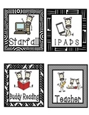Reading Center Labels - Multi Black and White