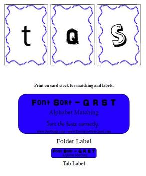 Reading Center Letter Recognition Activity for Q R S T - PreK Literacy Activity