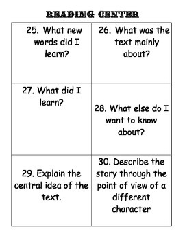 Reading Center Literature Questions Activity