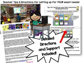Reading Center Rotations Editable Powerpoint Rainbow design