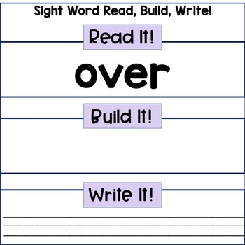 Reading Center: Sight Words- Frys 2nd 100 Words Read, Build, Write