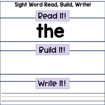 Reading Center: Sight Words- Frys First 100 Words- Read, Build, Write