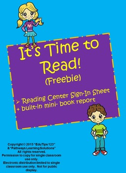 Reading Center Sign-in Sheet + Built-in Mini-Book Report