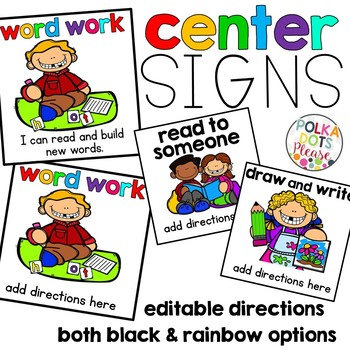 Reading Center Signs with Daily Five