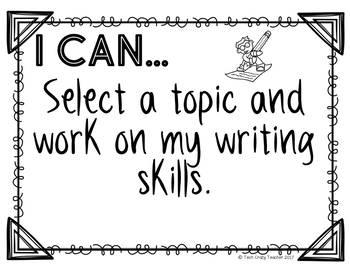 Reading Center Signs with I Can Statements: Black and White Editable
