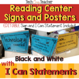 Reading Center Signs with I Can Statements: Black and Whit