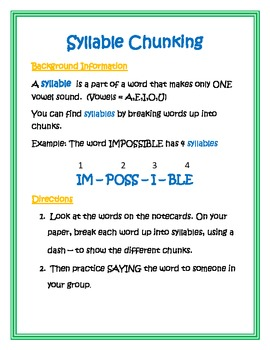Reading Center - Syllables and Word Chunking