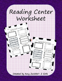 Reading Center Worksheet/Recording Page
