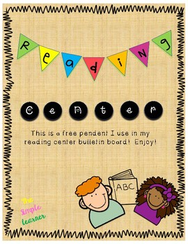 Reading Center Bulletin Board Pendant or Decorations