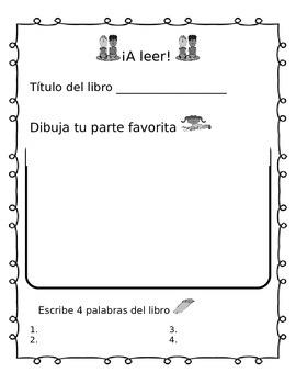 Reading Center worksheet- Espanol