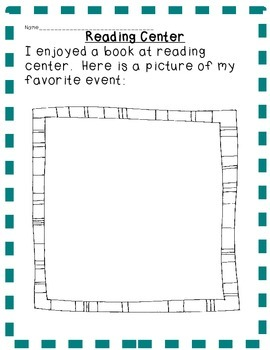 Reading Center/Station Forms:  Character, Setting, Events, front/back cover