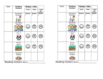 Reading Centers - Accountability Sheet (2 per page)