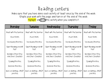 Reading Centers Checklist