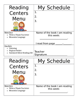 Reading Centers Menu