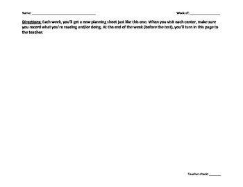 Reading Centers Planning Sheet (student copy)