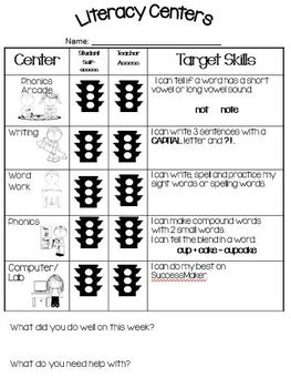 Reading Centers Self Assessment Sheet