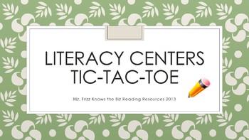 Reading Centers' Tic Tac Toe